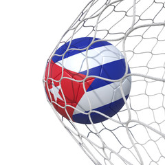 Cuba Cuban flag soccer ball inside the net, in a net.