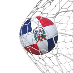 Dominican Republic flag soccer ball inside the net, in a net.