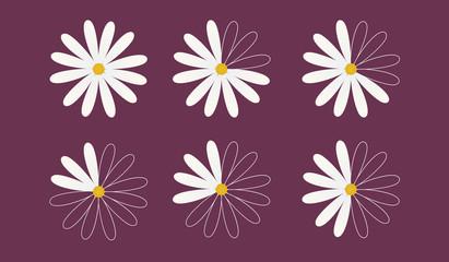Set of six daisy as pie diagrams