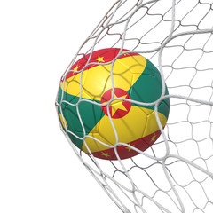 Grenada Grenadian flag soccer ball inside the net, in a net.