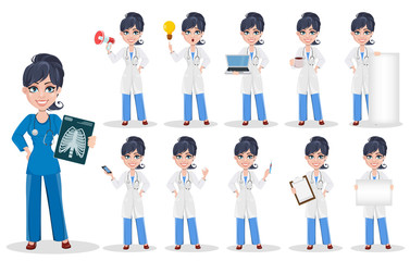 Doctor woman, professional medical staff, set