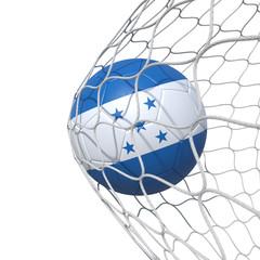 Honduras Honduran flag soccer ball inside the net, in a net.