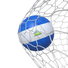 Nicaragua Nicaraguan flag soccer ball inside the net, in a net.
