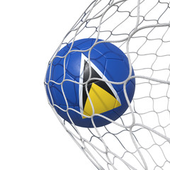 Saint Lucia flag soccer ball inside the net, in a net.