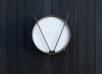 drum on a black background