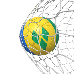 Saint Vincent and the Grenadines flag soccer ball inside the net, in a net.