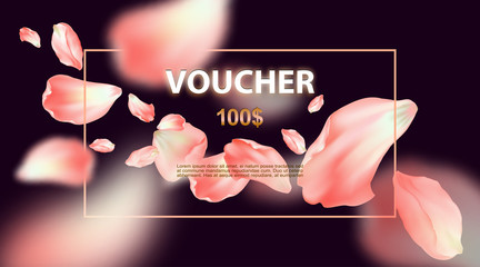 Gift voucher template. Promotional card with petals of rose. Discount certificate with Floral design. Vector illustration of coupon with 100 dollars value.