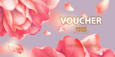 Gift voucher template. Promotional card with rose and petals of rose. Discount certificate with Floral design. Vector illustration of coupon with 100 dollars value.