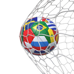 Countries national Portugal Morocco  flags soccer ball inside the net, in a net.