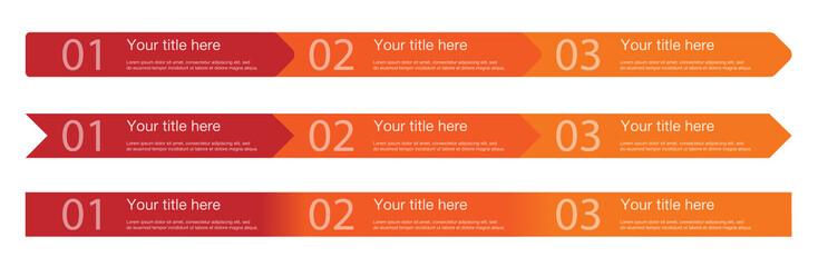 3 Steps Arrows Template in 3 versions