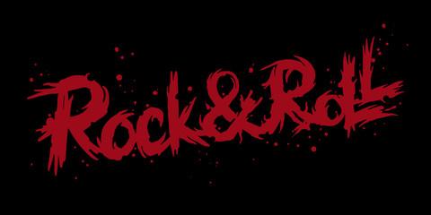 Rock n Roll Lettering Logo. Vector illustration for your card, t-shirt print design.
