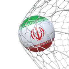 Iran Irani Iranian flag soccer ball inside the net, in a net.