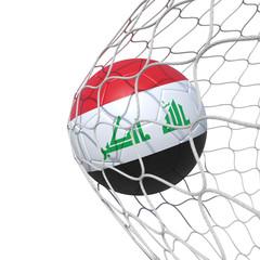 Iraq Iraqi flag soccer ball inside the net, in a net.