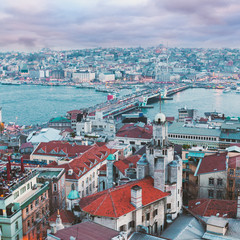 Panoramic views of the Bosphorus and the old part of Istanbul with lots of mosques at evening. Aerial view