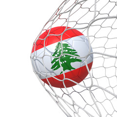 Lebanon Lebanese flag soccer ball inside the net, in a net.