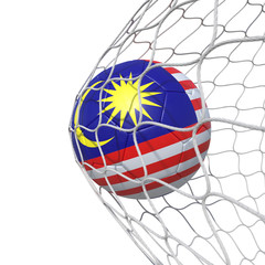 Malaysia Malaysian flag soccer ball inside the net, in a net.