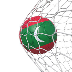 Maldivian Maldives flag soccer ball inside the net, in a net.
