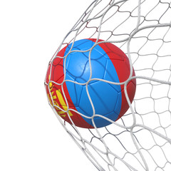 Mongolia Mongolian flag soccer ball inside the net, in a net.