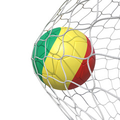 Congo Congolese Old flag soccer ball inside the net, in a net.