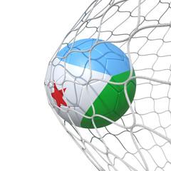 Djibouti Djiboutian flag soccer ball inside the net, in a net.