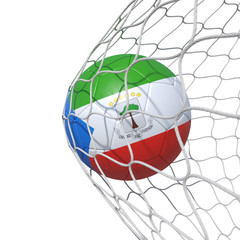 Equatorial Guinea Guinean flag soccer ball inside the net, in a net.