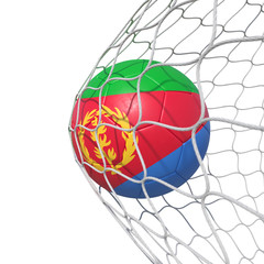 Eritrea Eritrean flag soccer ball inside the net, in a net.