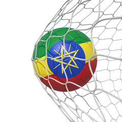 Ethiopia Ethiopian flag soccer ball inside the net, in a net.