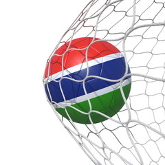 Gambia Gambian flag soccer ball inside the net, in a net.