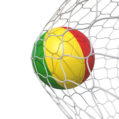 Mali Guinea Guineas flag soccer ball inside the net, in a net.