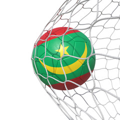 Mauritania Mauritanian flag soccer ball inside the net, in a net.