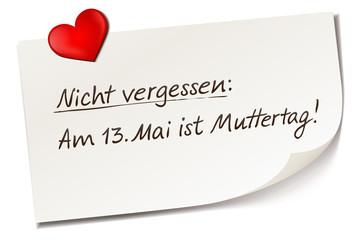 Muttertag Termin 2018 - Haftnotiz Zettel mit Herz