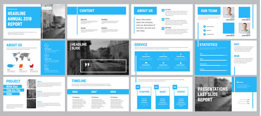 Vector presentation template with blue lines.