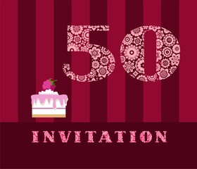 Invitation, 50 years old, raspberry pie, vector, English. The invitation to the birthday party. Wedding anniversary. Color card. Berry cake with raspberries on a striped, dark red field.