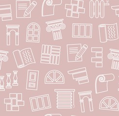 Decoration materials, construction, seamless pattern, outline drawing, pink, vector. Finishing of premises and buildings. Plain, flat background. Linear white pattern on a pink field.