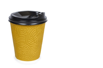Take out coffee in thermo cup. Isolated on a white background. Disposable container, hot beverage. copy space, template