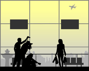 Celebrity and paparazzi hidden take pictures at the airport silhouette