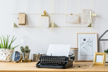 Desk with typewriter and decorations