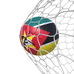 Mozambique Mozambican flag soccer ball inside the net, in a net.