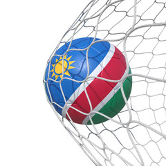 Namibia Namibian flag soccer ball inside the net, in a net.