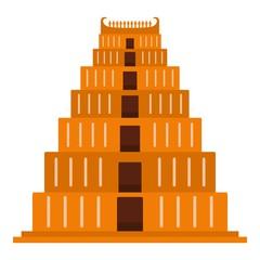 Mayan pyramid icon. Flat illustration of mayan pyramid vector icon for web