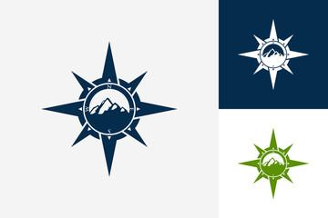 Compass Mountain Logo Template Design Vector, Emblem, Design Concept, Creative Symbol, Icon
