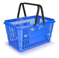 Shopping cart for supermarket plastic blue with black handle 3d illustration