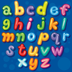 Cute Bubble a-z lowercase Font Set, Cute vect