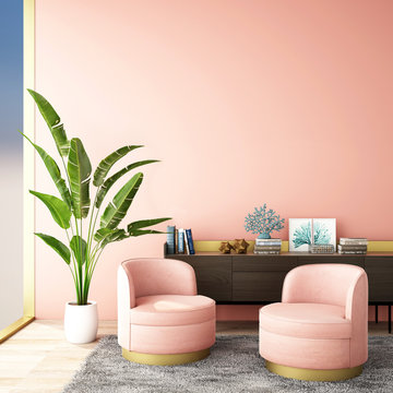 interior design for living area or reception with grey carpet , armchair,plant,cabinet on wood floor and pink background  / 3d illustration,3d rendering