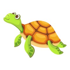 Swimming turtle icon. Cartoon illustration of swimming turtle vector icon for web