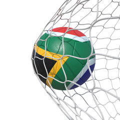 South Africa South African flag soccer ball inside the net, in a net.