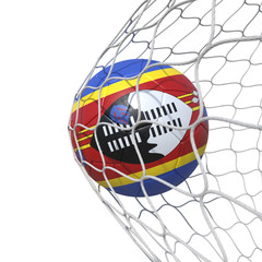 Swaziland flag soccer ball inside the net, in a net.