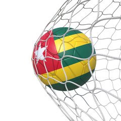 Togo Togolese flag soccer ball inside the net, in a net.