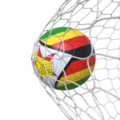Zimbabwe Zimbabwean flag soccer ball inside the net, in a net.