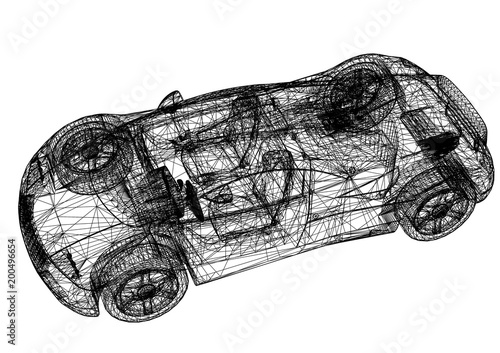Sports car 3d blueprint isolated stock photo and royalty free sports car 3d blueprint isolated malvernweather Image collections